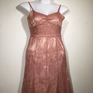 Ann Taylor Rose Gold Lace Sweetheart Neck Dress 🦖